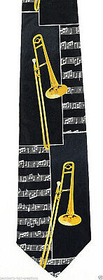 Trombone Blocks Men's Necktie Music Instrument Score Musician Black Neck Tie • 15$