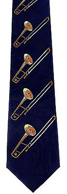 Brass Trombones Mens Neck Tie Music Blue Necktie Musical Instrument Trombone  • 15.95$