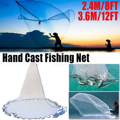 AU22.60 • Buy 8ft-12ft Cast Fishing Net Quick Throw Nylon Mesh Drawstring Chain Bottom Spread