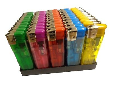 £8.30 • Buy 50 X Electronic Adjustable Flame Refillable Lighter Five Colours Gas Lighters