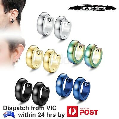 AU9.99 • Buy Stainless Steel Hoop Earrings For Men Women Clip On Huggie Piercing Jewellery