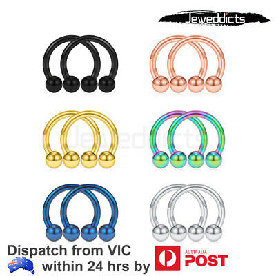 AU3.99 • Buy 2PCs Piercing Ring Horse Shoe Nose Lip Ear Labret Surgical Steel Body Jewellery