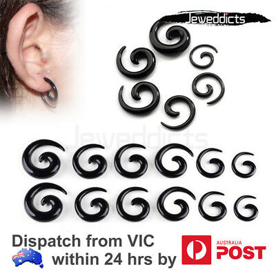 AU7.99 • Buy Taper Stretcher Spiral Ear Piercing Acrylic Black Body Jewellery 1.6mm - 10mm