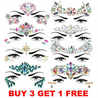 Face Gems Adhesive Glitter Jewel Tattoo Body Make Up Wedding Festival Rave Party • 1.99£