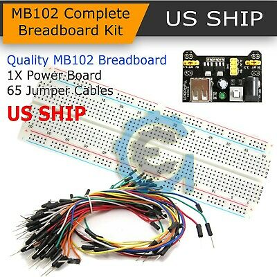 £4.31 • Buy 830 Point Solderless Breadboard 65 Pcs Jumper Cable Mb-102 Power Supply Module