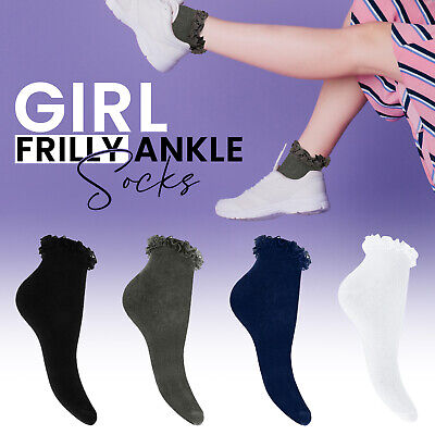 £4.25 • Buy Girls Frilly Lace Trim Ankle Dance Trainers Liner Fancy Dress Socks 3 Pairs New