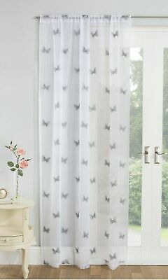 £11.99 • Buy Summer Embroidered Silver Grey Butterfly White Voile Slot Top Curtain Panel