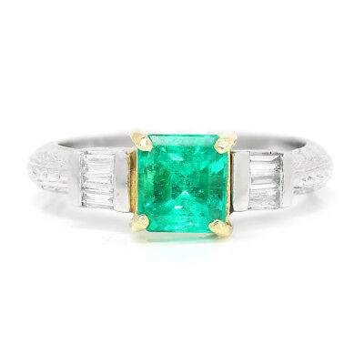 Colombian Emerald Engagement Ring With Diamonds Platinum 14K 1.40ctw • 3,287.86£