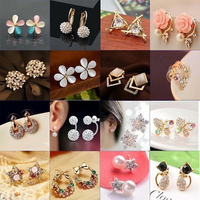 $ CDN1.43 • Buy New 1 Pair Elegant Women Crystal Rhinestone Pearl Ear Stud Fashion Earrings Gift