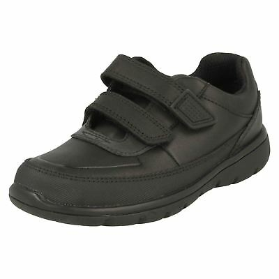 Clarks Boys Venture Walk Black Leather Rip Tape Shoes H-Fit (R40A)(Kett) • 43.99£