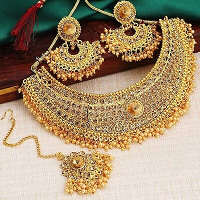 $17.99 • Buy Indian Jewelry Bollywood Wedding Gold Plated Necklace Set Earrings Tikka 4 Pcs
