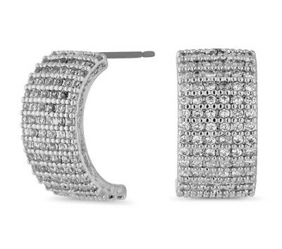 Jon Richard Silver Cubic Zirconia Encrusted Half Hoop Earrings • 5£