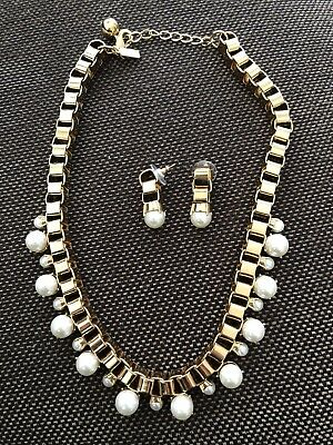 $ CDN134.06 • Buy Kate Spade Gold Box Chain Pearl Necklace And Earrings / Gold Links/ FauxPearls