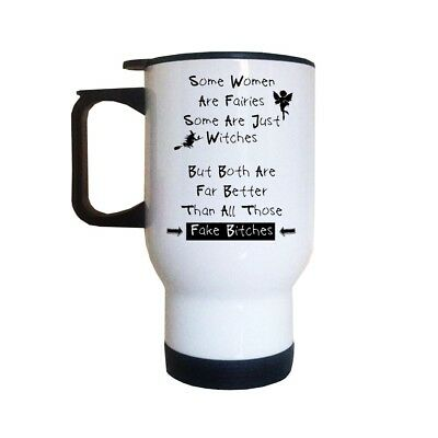 £12.99 • Buy Fairies Witches Fake Bitches Travel Mug   Funny Quote Saying   Thermal Mugs