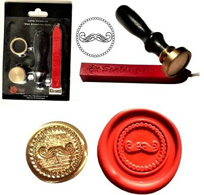 Gents Moustache Hipster Wax Stamp Seal Starter KIT Or Coin Only  XWS039B/XWSC110 • 9.99£