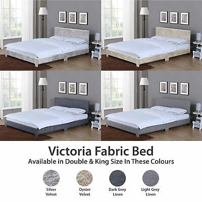 Victoria Double King Size Bed Frame 4FT6 5FT Upholstered Fabric Headboard Velvet • 118.95£