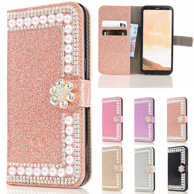 $ CDN8.81 • Buy Pearls Diamond Wallet Case Women's Flip Cover For Samsung Galaxy S20 S10e S9 S8+