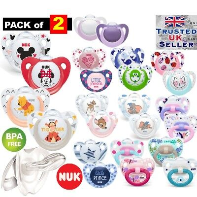 £9.99 • Buy 2-PACK NUK Dummy Pacifier Teat Nipple Soother Baby Soothe  0-6m/3-6m/18m FreeBPA