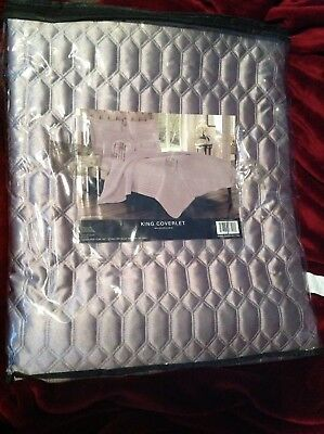 $ CDN194.88 • Buy J QUEEN NEW YORK King Coverlet SATINIQUE Silver QUILTED GEOMETRIC NEW NWT $250