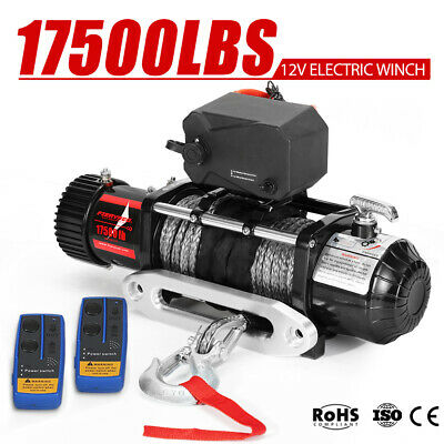AU499.95 • Buy FIERYRED 12V 17500LB Wireless Electric Winch Synthetic Rope 4WD 4x4 9.5mm X 26m