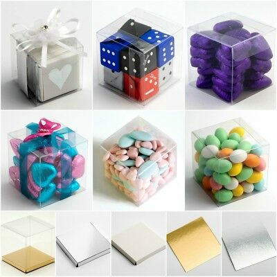 £9.99 • Buy Clear Cube Favour Box PVC Acetate Transparent Chocolate Sweets Cup Cake Wedding