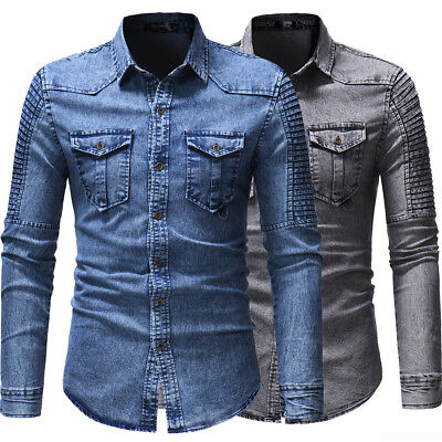 $17.81 • Buy Mens Denim Shirts Long Sleeves Luxury Slim Fit Two Pockets Washed Casual Shirts