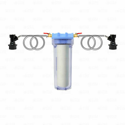 Beer Wine Filter Kit 1 Micron Home Brewing Clarification + Corny Keg Connectors • 38.34£