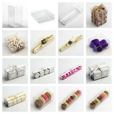 £4.19 • Buy Luxury DIY Wedding Favour Gift Boxes Transparent PVC Clear Rectangular Square