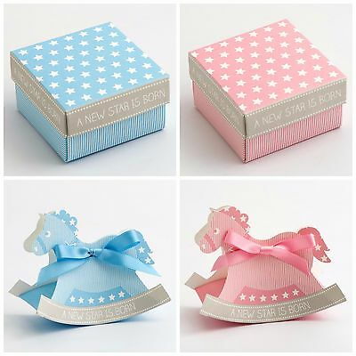 £1.79 • Buy Pink/Blue A New Star Is Born Baby Shower Christening Favour Boxes Keepsake Gift