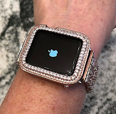 $ CDN85.45 • Buy 38mm Rose Gold Cz Apple Watch Bezel Princess Cut Iwatch Bling Case Series 2/3