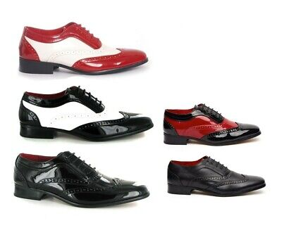 Mens Spectator Two Tone, Black Red, Borsali, Brogue, Gangster Shoe, Oxford Style • 29.99£