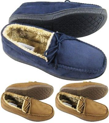 Mens Moccasins Warm Faux Suede Sheepskin Fur Lined Winter Loafers Slippers Size • 10.95£