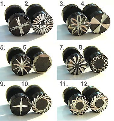 Stainless Steel 8mm Anodized Engraved Fake Ear Plug Earring 12 Designs  • 2.88£