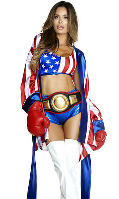 £46.72 • Buy Forplay Get Em' Champ Red, White & Blue Boxer Fighter 4pc Costume 557764