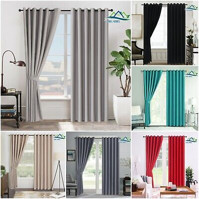 Insulated Heavy Thick Thermal Blackout Curtains Eyelet Ring Top Pair + Tie Backs • 24.97£