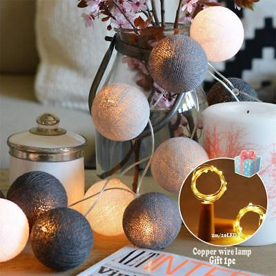 3M Cotton Ball Globe String Light Fairy Lamp Party Wedding Xmas Battery Plug In • 7.79£