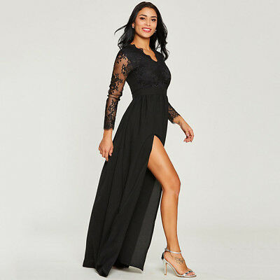 AU23.98 • Buy AU Womens Long Black Lace Dress Prom Evening Party Cocktail Bridesmaid Ball Gown