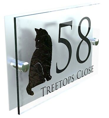 Cat House Sign Custom Made Personalised Home Plaque Door Number Street Address • 8.99£