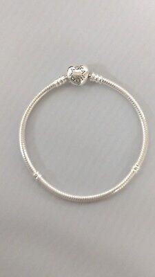 PANDORA Charm Bracelet Sterling Silver With Heart Clasp 590719 • 56.11£