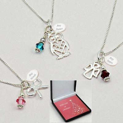 Sterling Silver Birthstone Necklace With Engraving In Christmas Box, Many Styles • 19.99£