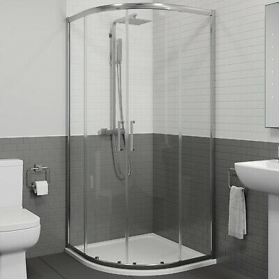 900 X 900mm Quadrant Shower Enclosure 8mm Walk In Cubicle Framed Tray & Waste • 299.99£
