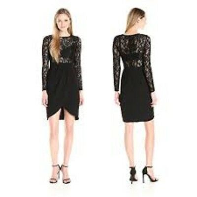 $49.99 • Buy Aidan Mattox Crepe Cocktail Dress Long Sleeve With Lace Illusion NWT Size 6