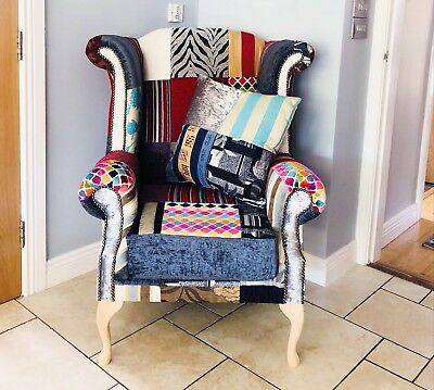 £695 • Buy Chesterfield Bespoke Patchwork Queen Anne Chair
