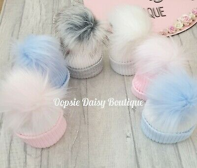Baby Pom Pom Hats Newborn Kinder Hats X 6 Colours • 8.99£