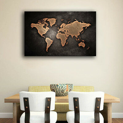 AU99.99 • Buy Framed Canvas Prints Stretched Vintage World Map Wall Art Home Decor Gift