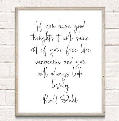 Roald Dahl Sunbeams Typography Print Poster Unframed Quote Home Family The Twits • 4.49£