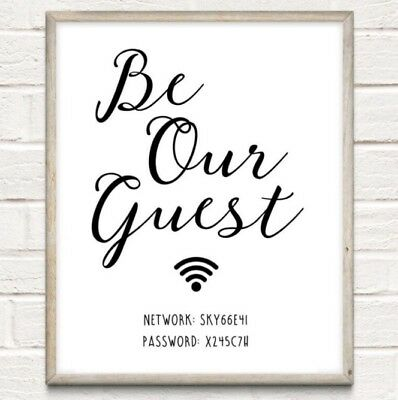 A4 Personalised Wifi Password Typography Print Wall Art Gift Home Decor UNFRAMED • 5.50£