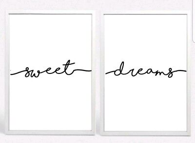 Sweet Dreams Set 2 Typography Prints Posters Unframed Home Quote Love Bedroom • 5.99£