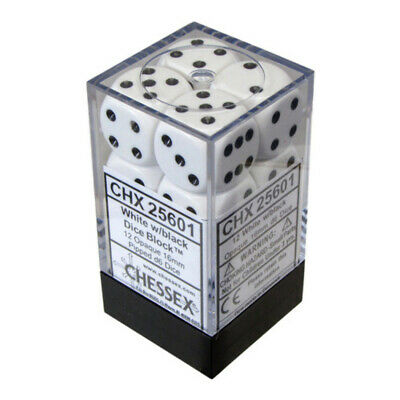 AU13.95 • Buy Chessex Opaque 16mm D6 12-Die Dice Set White & Black NEW