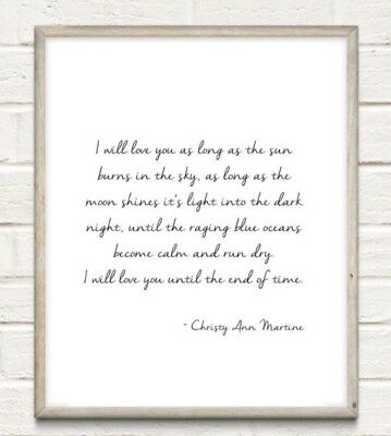 Love You End Of Time Typography Print Poster Family Couple Unframed Home Quote • 4.49£